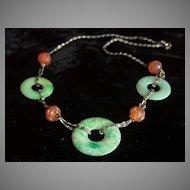 "Stunning Art Deco Vintage Sterling Jadeite Jade Carnelian Necklace 14.5"""