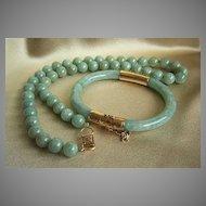 ONE OF A KIND SET - MINGS MING'S 14K Jadeite Jade Elliptical Bracelet & Necklace