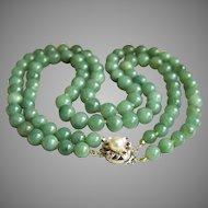 Rare estate 14k white gold pearl ruby 2 strands jadeite jade bead necklace 140.2 g heavy