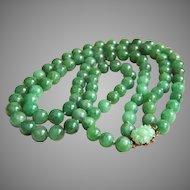 "Rare vintage GUMPS GUMP'S 2 strands jadeite jade 14K clasp necklace 99.2 grams 17 to 18 3/4"""