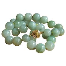 """Amazing Vintage GUMPS GUMP'S 14K Large Water Jadeite Jade Bead Necklace 19"""" Heavy 113.9 g Extreme High Quality"""
