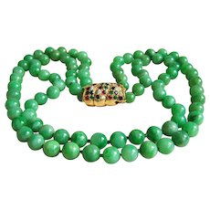 Magnificent 2 strands vintage jadeite jade beads 14KT diamond emerald ruby sapphire clasp necklace