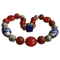 "Stunning vintage Chinese cloisonne large carved and smooth jade red carnelian agate beads lapis lazuli clasp necklace 20"" 157.3 g"