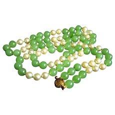 "Stunning Rare Vintage Long 14K GUMPS GUMP'S Jade Pearl Necklace 35 1/2"" 87.8 g"