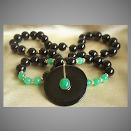 Stunning 14K Black Jade Pendant Necklace
