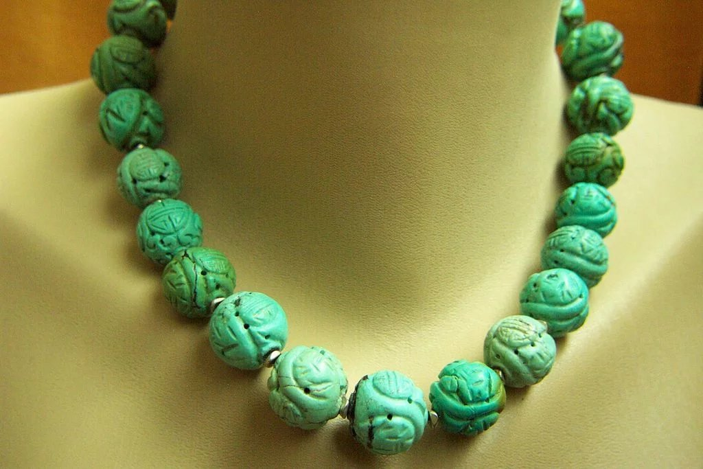 Stunning Chinese Export Large Vintage Carved Turquoise
