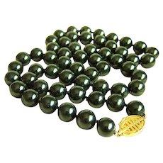 """Magnificent Vintage GUMP'S GUMPS 14K Large 14mm Black Jade Bead Necklace 34"""" 206.8 g"""