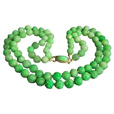 ONE OF A KIND Chinese 14K 2 Strands Natural Carved Jadeite Jade Bead Necklace