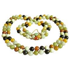 Extremely RARE Vintage 14K GUMP'S GUMPS high end premier double strands jadeite jade necklace 104.6 g