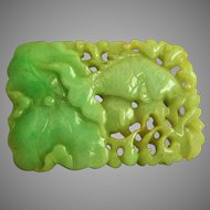 Exquisite 19th Century Qing Dynasty Chinese Antique Large Carved Jadeite Jade Fish Lotus Pendant 295.5 carats