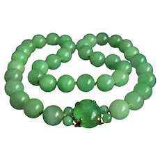 "ONE OF A KIND Stunning large lcy translucent jadeite jade beads 14K emerald cabochon clasp necklace 25""  Heavy 217g"