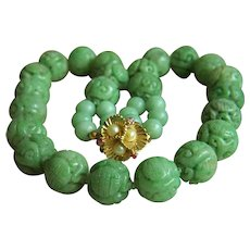 """ONE OF A KIND Stunning Vintage Large Chinese Carved Jadeite Jade Bead 14K Ruby Pearl Necklace 21"""" Heavy 231g"""