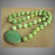 Fabulous Vintage 14KT Jadeite Jade Necklace by Walter Lampl