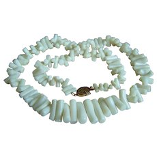 """RARE Vintage Authentic GUMPS GUMP'S 14K White Coral Branches Necklace 23.5""""  79.7 g"""