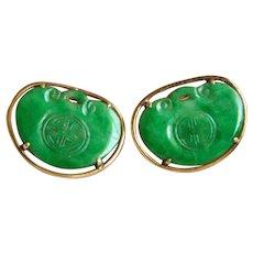 VERY RARE Tiffany & Co. 14K Vintage Carved Chinese Jadeite Jade Earrings in Box