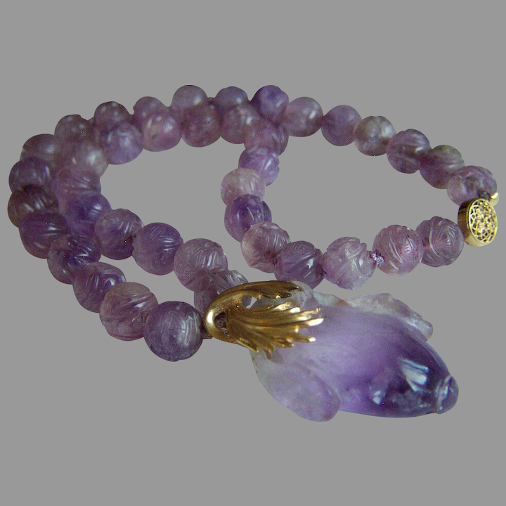 Amethyst Beaded Necklace with Amethyst Pendant.