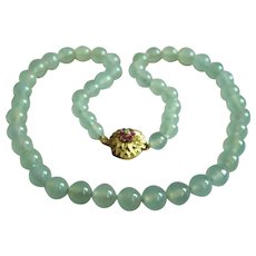 ONE OF A KIND - Vintage Extra Fine 14K Diamond Ruby Translucent Icy Jadeite Jade Beads Necklace