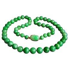 """Exquisite Vintage 14K GUMP'S GUMPS GUMP Signed Jadeite Jade Necklace 55.3 g  20"""""""