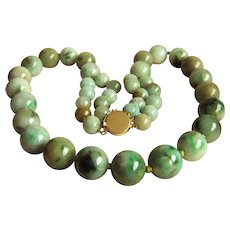 """Extremely RARE Vintage Large Natural Jadeite Jade Beads 14K Necklace 167.9 g  21"""""""