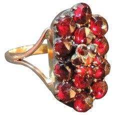 Red Bohemian Garnet Cluster Ring