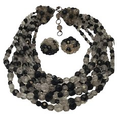 Black and Clear Crystal Bib Coppola e Toppo Necklace and Earring Set