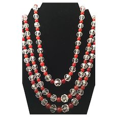 Vintage Crystal and Carnelian Bead Necklace