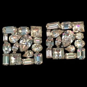 Weiss Crystal Clear Rhinestone Square Earrings