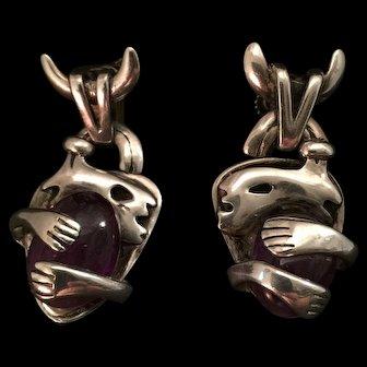 Rare Pair of Salvador Teran Sterling Earrings