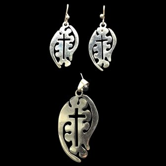 Sterling Cross Pendant and Earrings