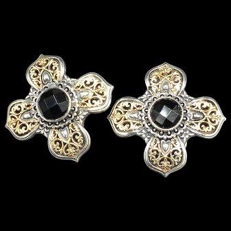 Konstantino Sterling and 18K Black Onyx Earrings