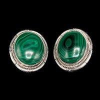 Large Sterling Malachite Earrings