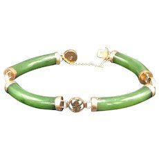14k Gold Chinese Jade Tube Bracelet
