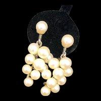 Sterling Pearl Grape Earrings