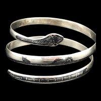 Vintage Sterling Silver Niello Double Coil Snake Bracelet