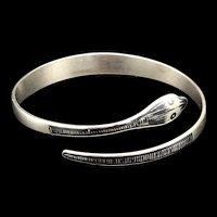 Vintage Sterling Silver Niello Coil Snake Bracelet