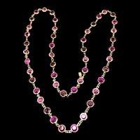 Signed Swarovski Pink, Fuchsia, &  Lavender Bezel Set Crystal Necklace