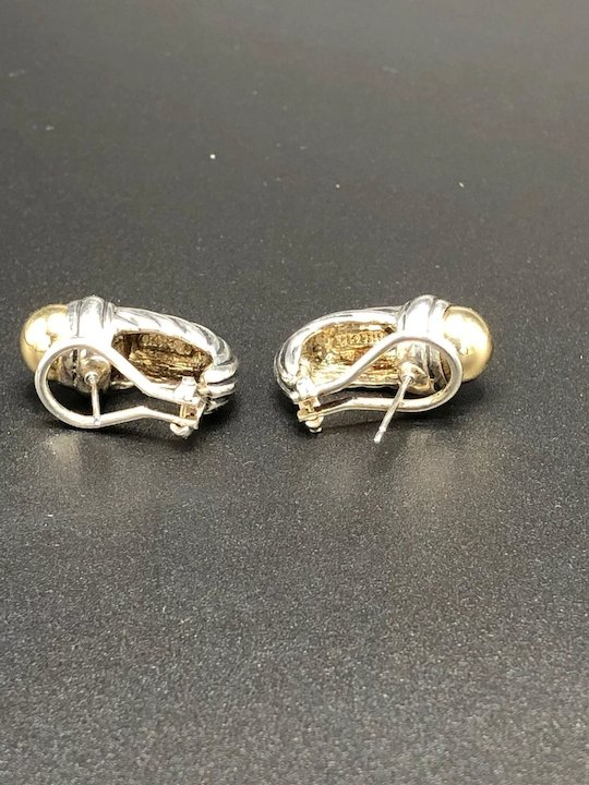 9e47b9dc590f4 Sterling Silver and 14K Yellow Gold Cable Classics Shrimp Earrings