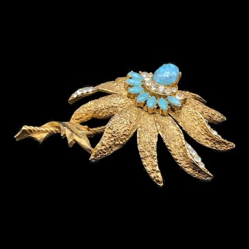 Gold Tone Floral Brooch By: Florenza