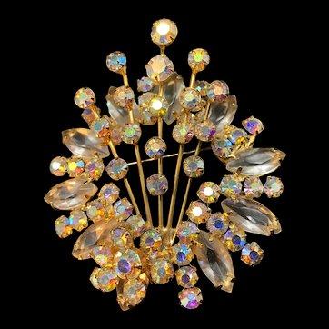 Juliana Aurora Borealis pin and earrings