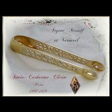 Antique French Sterling Silver & Vermeil - Pierced - Sugar Tongs Paris 1819-1838