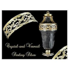 French Sterling Silver, Vermeil and Crystal Carriage Vase