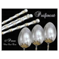 PUIFORCAT . French Sterling Silver Moka Spoons. Rare model Bamboo 12 p.