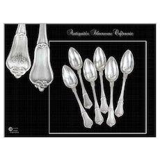 """Noeud Gordien"" Pattern, Set of Coffee or Tea Spoons, Antique French Sterling Silver"