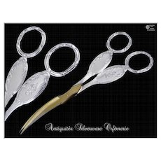 Antique French Steling Silver Pair of Grape Scissors Louis XVI -  St. Louis Coignet