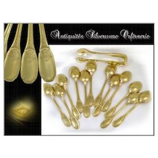 Régence Pattern - Antique French Sterling Silver and Vermeil Mocha Spoons with Box. H.Lapparra. Paris