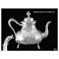"Superb, Antique French Sterling Silver  ""Guilloché"" Tea Pot"