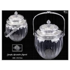 Antique French Sterling  Vermeil & Crystal Cookies Pot J.A Martel 1888-1914