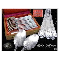 """PUIFORCAT - Neo Gothic - Antique French Sterling Silver Dessert / Tea Spoons """"Fer de Lance"""" Pattern with their Box."""