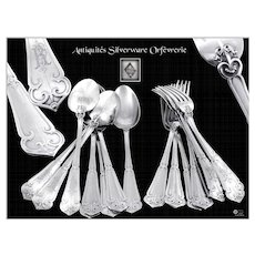 "Soufflot - Antique French Sterling Silver Hors-d'Oeuvre / Dessert Flatware Set "" Fer de Lance "" 8 Guests"
