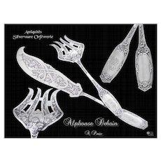 Art Nouveau - Gorgeous French Sterling Silver Fish Servers 2 pc. Alphonse Debain